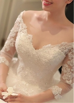 Gorgeous Tulle Off-the-shoulder Neckline Ball Gown Wedding Dresses With Beaded Lace Appliques