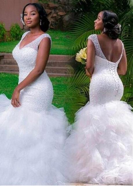 Modest Tulle V-neck Neckline Mermaid Wedding Dress With Beadings & Ruffles
