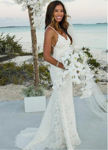 Marvelous Lace Spaghetti Straps Neckline Backless Mermaid Wedding Dress
