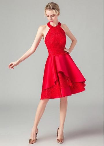 Gorgeous Lace & Satin Halter Neckline A-line Homecoming Dresses