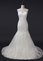 Chic Tulle Sweetheart Neckline Mermaid Wedding Dress With Lace Appliques