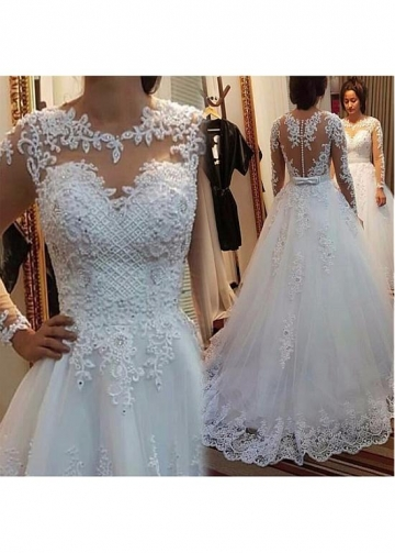 Delicate Tulle Jewe Neckline A-line Wedding Dress With Beaded Lace Appliques & Bowknot