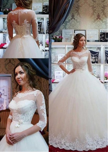 Glamorous Tulle Scoop Neckline Ball Gown Wedding Dress With Lace Appliques & Belt