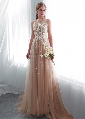 Delicate Tulle Jewel Neckline See-through Bodice A-line Wedding Dress With Lace Appliques
