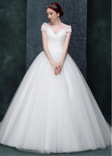 Amazing Tulle Off-the-shoulder Neckline Full-length A-line Wedding Dress