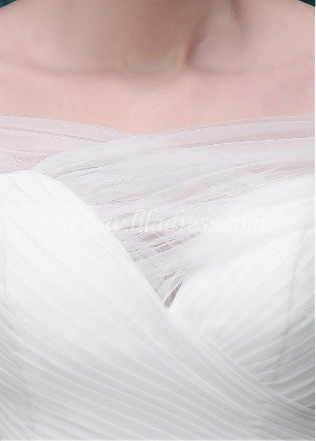 Amazing Tulle Off-the-shoulder Neckline Full-length A-line Wedding Dress