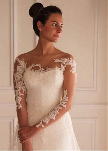 Elegant Tulle A-line Wedding Dress With Lace Appliques