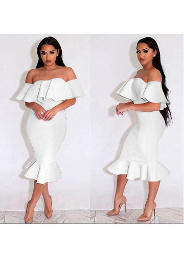 Fashionable Spandex Off-the-shoulder Neckline Tea-length Mermaid Cocktail Dresses