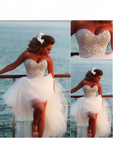 Lovely Tulle Sweetheart Neckline Ball Gown Wedding Dresses with Beadings