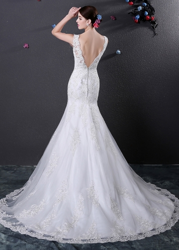 Alluring Illusion Bateau Neckline Mermaid Wedding Dress