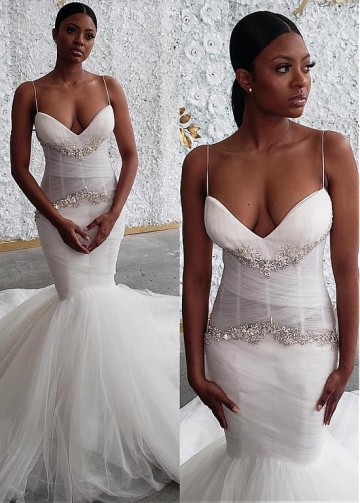 Unique Tulle Spaghetti Straps Neckline Mermaid Wedding Dresses With Rhinestones
