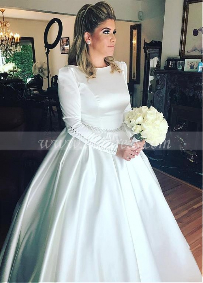 Simple Satin Jewel Neckline Ball Gown Wedding Dresses With Beadings