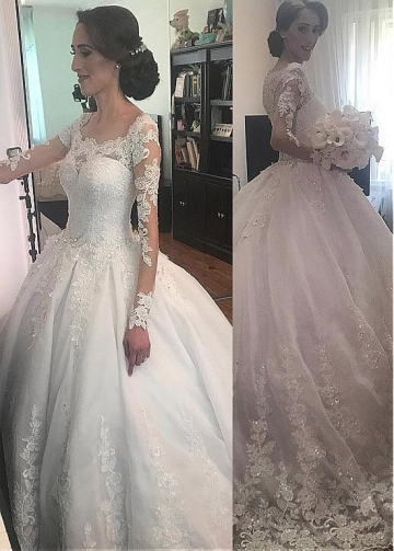 Fantastic Tulle Jewel Neckline Ball Gown Wedding Dresses With Beaded Lace Appliques