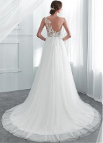 Wonderful Tulle & Lace Jewel Neckline A-line Wedding Dresses With Beaded Lace Appliques