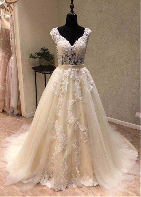Luxury Tulle V-neck Neckline 2 In 1 Wedding Dresses With Lace Appliques & Detachable Train & Belt