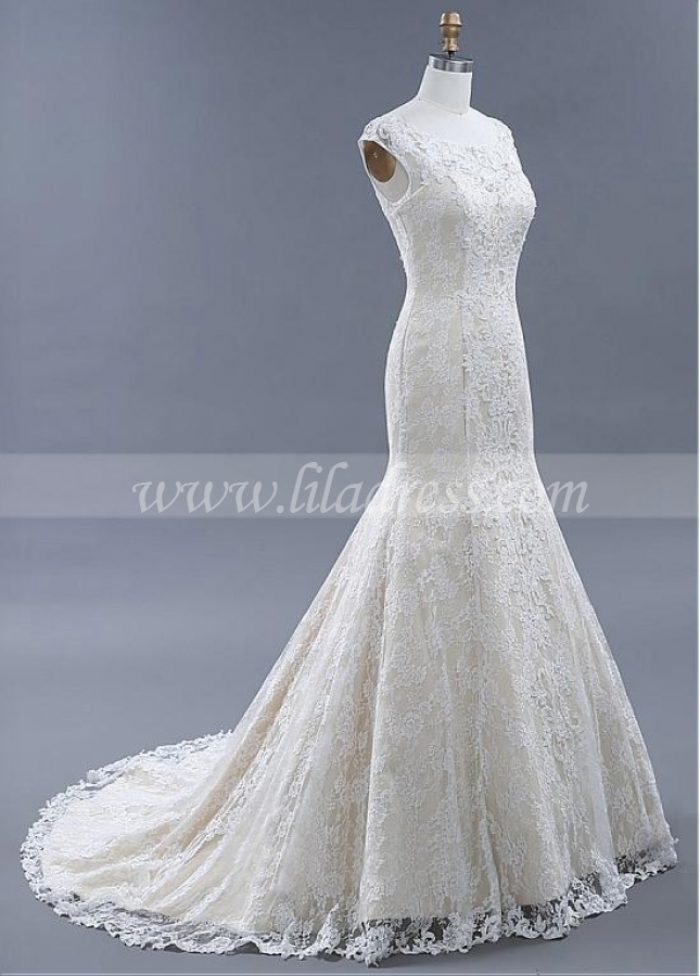 Delicate Lace Scoop Neckline Mermaid Wedding Dresses With Beadings & Lace Appliques