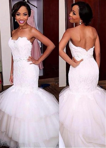 Chic Tulle Sweetheart Neckline Mermaid Wedding Dress With Lace Appliques & Beadings