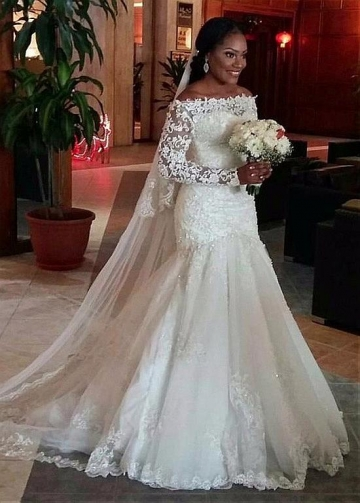 Fantastic Tulle Off-the-shoulder Neckline Full-length Mermaid Wedding Dress With Lace Appliques & Beadings