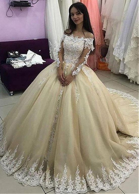 Fascinating Tulle Off-the-shoulder Neckline Ball Gown Wedding Dress With Beadings & Lace Appliques