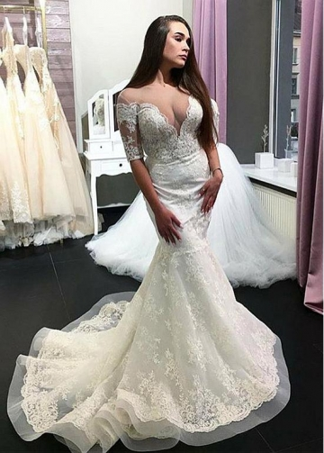 Eye-catching Tulle Sheer Scoop Neckline Mermaid Wedding Dress With Beadings & Lace Appliques