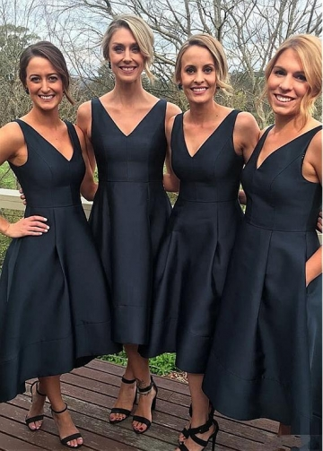 Fashion Satin V-neck Neckline Hi-lo A-line Bridesmaid Dresses With Pockets
