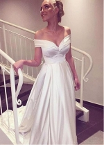 Modest Satin Off-the-shoulder Neckline A-line Wedding Dress