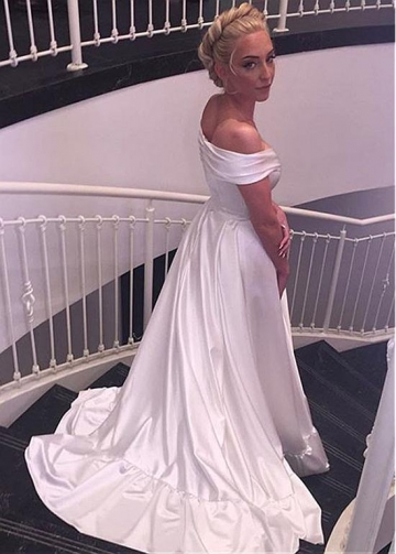 Modest Satin Off-the-shoulder Neckline A-line Wedding Dress