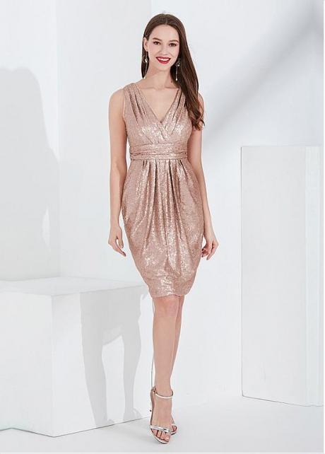 Brilliant Sequin V-neck Neckline Knee-length Cocktail / Bridesmaid Dress