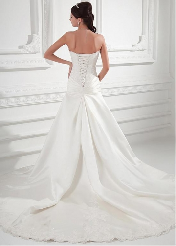 Charming Tulle & Satin Sweetheart Neckline Dropped Waistline A-line Wedding Dress With Beadings & Lace Appliques