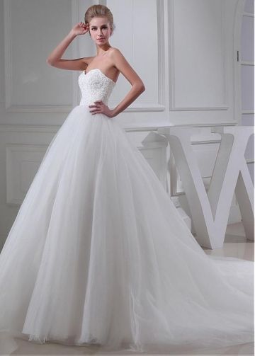 Fantastic Tulle Sweetheart Neckline Ball Gown Wedding Dress With Beaded Lace Appliques