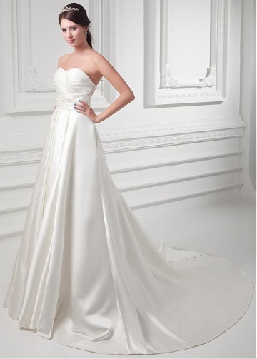 Delicate Satin Sweetheart Neckline A-line Wedding Dress With Beadings