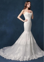 Charming Tulle Sweetheart Neckline Mermaid Wedding Dress With Lace Appliques