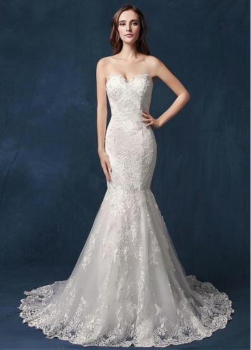 Attractive Tulle Sweetheart Neckline Mermaid Wedding Dress With Lace Appliques
