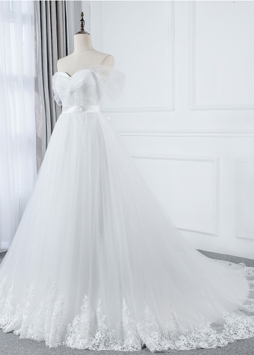 Marvelous Tulle Off-the-shoulder Neckline A-line Wedding Dress With Lace Appliques & Belt