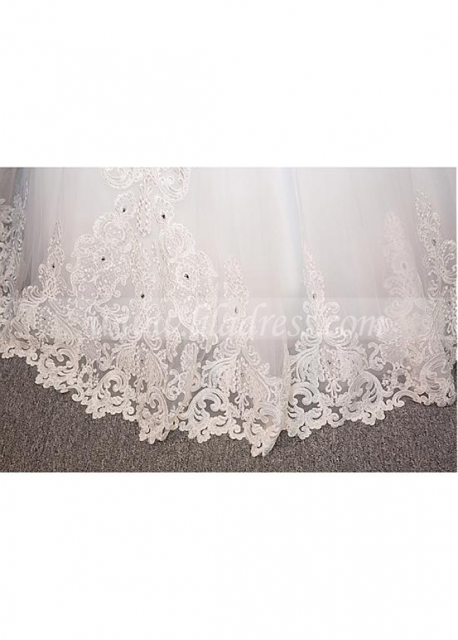 Gorgeous Tulle Off-the-Shoulder Neckline Ball Gown Wedding Dress With Lace Appliques & Beadings