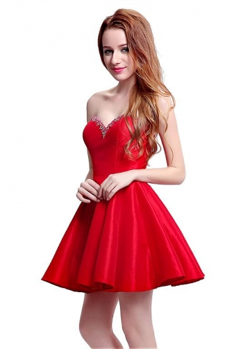 Elegant Taffeta Sweetheart Neckline Mini-length A-Line Homecoming Dresses With Beadings