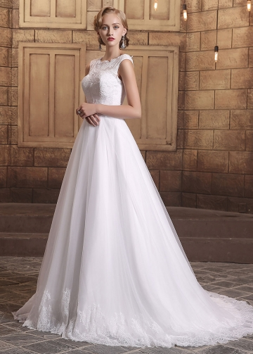 Elegant Tulle Bateau Neckline Lace Appliques A-line Wedding Dresses