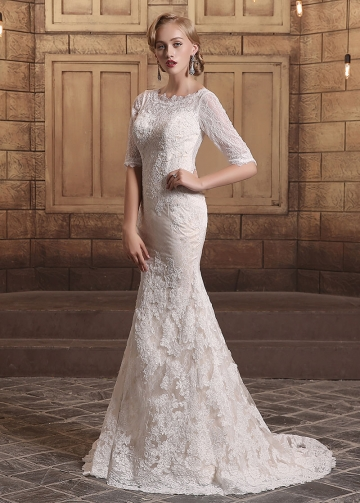Glamorous Lace Bateau Neckline Mermaid Wedding Dresses