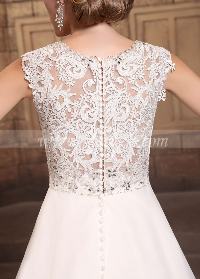 Elegant Organza Satin V-neck Neckline A-line Wedding Dresses