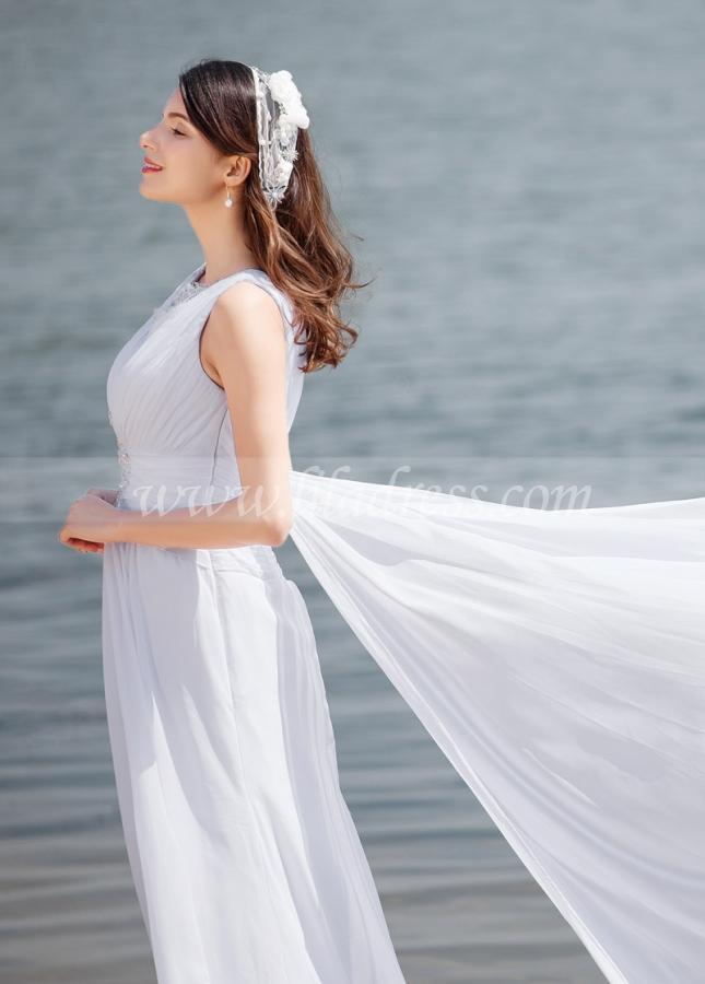 Elegant Chiffon V-neck Neckline A-line Wedding Dresses