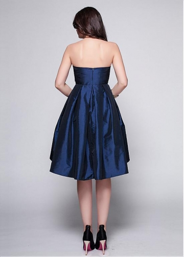 Elegant Taffeta Dark Navy Strapless Neckline A-line Cocktail Dress