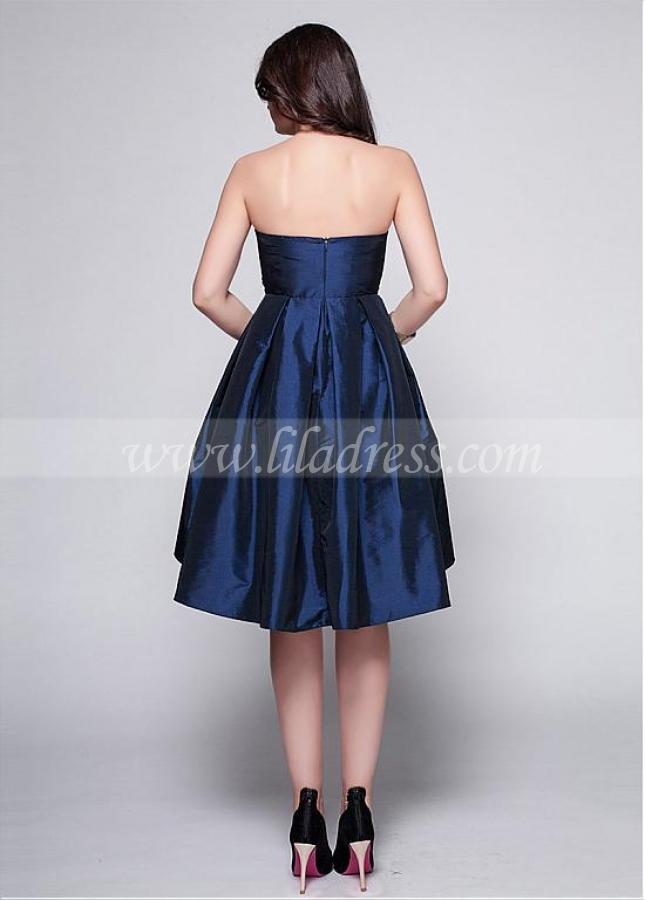 Elegant Taffeta Dark Navy Strapless Neckline A-line Cocktail Dress