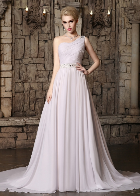 Marvelous Chiffon One Shoulder Neckline A-line Wedding Dresses with Beadings & Rhinestones