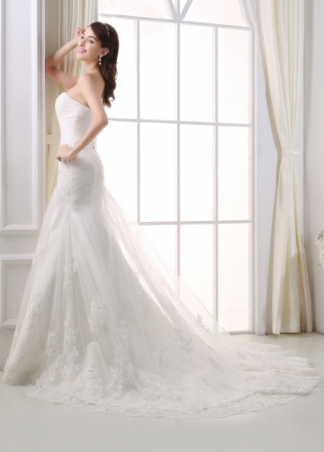 Fabulous Tulle Sweetheart Neckline Mermaid Wedding Dress With Beaded Lace Appliques