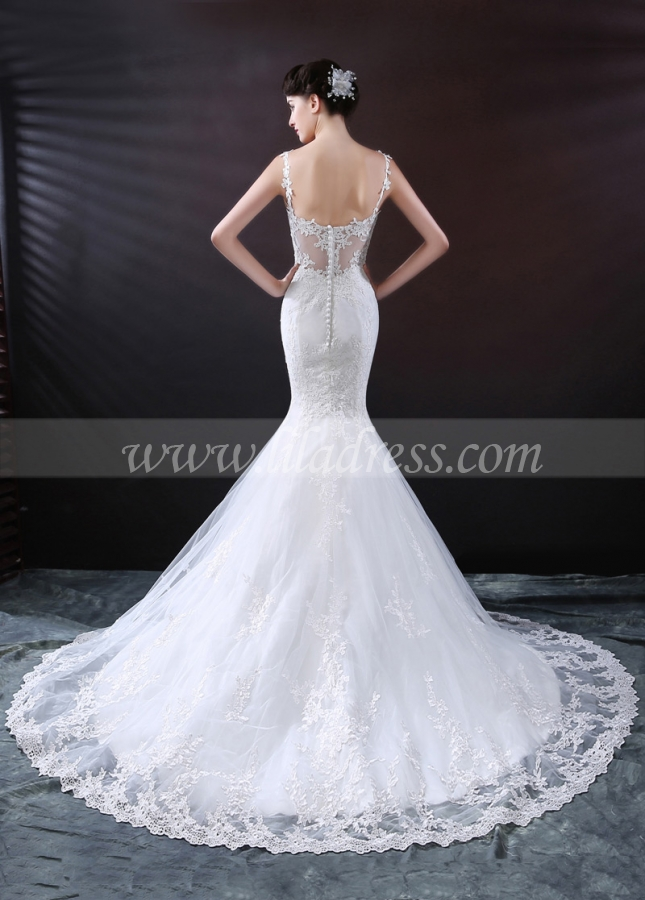 Delicate Tulle Spaghetti Straps Neckline Mermaid Wedding Dress With Lace Appliques