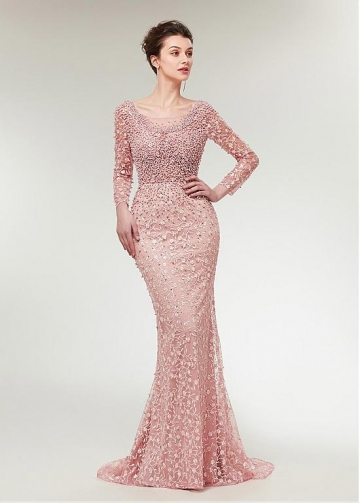 Stunning Lace Scoop Neckline Long Sleeves Mermaid Evening Dress With Beadings