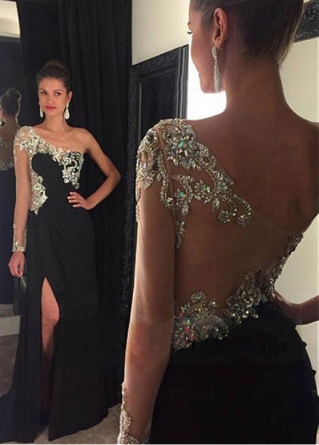Lavish Tulle & Chiffon One Shoulder Neckline Floor-length A-line Evening Dresses With Beadings