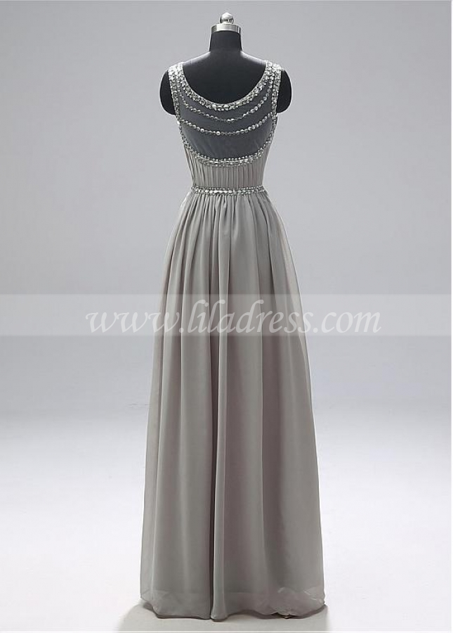 Special Chiffon Jewel Neckline A-line Prom Dresses With Beadings