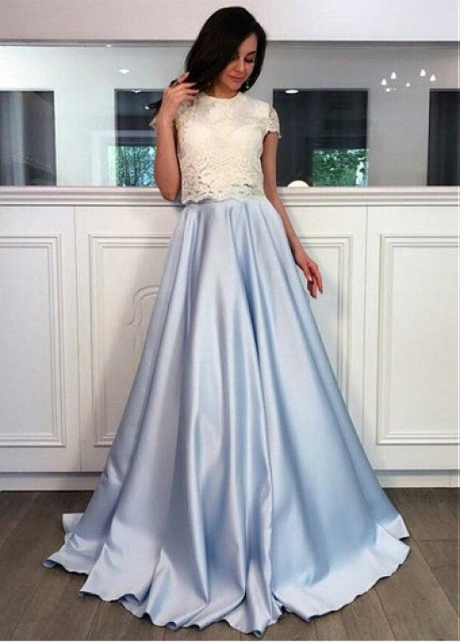 Fashionable Lace & Satin Jewel Neckline Floor-length A-line Prom Dresses