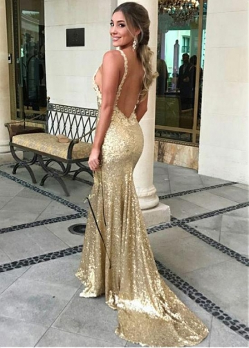 Sparkling Sequin Lace Spaghetti Straps Neckline Sheath/Column Prom Dress With Lace Appliques
